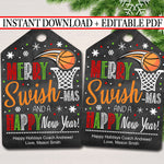 Christmas Basketball Gift Tags, Merry Swish-mas and a Happy New Year Tag, Holiday Sports Coach Printable, ,