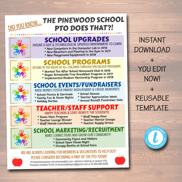 EDITABLE PTO PTA Flyer Printable Handout, School Year Fundraiser Event Meeting PTO Informational Editable Template Marketing Flyer