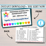 EDITABLE PTO PTA Membership Cards, Printable School Year Membership Volunteer Fundraiser Meeting Sponsorship Volunteer Id Form Card Template