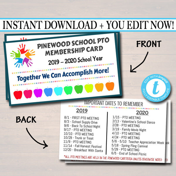 PTO PTA Membership Cards, Printable School Year Membership Volunteer Fundraiser Meeting Sponsorship Volunteer Id Form Card Template