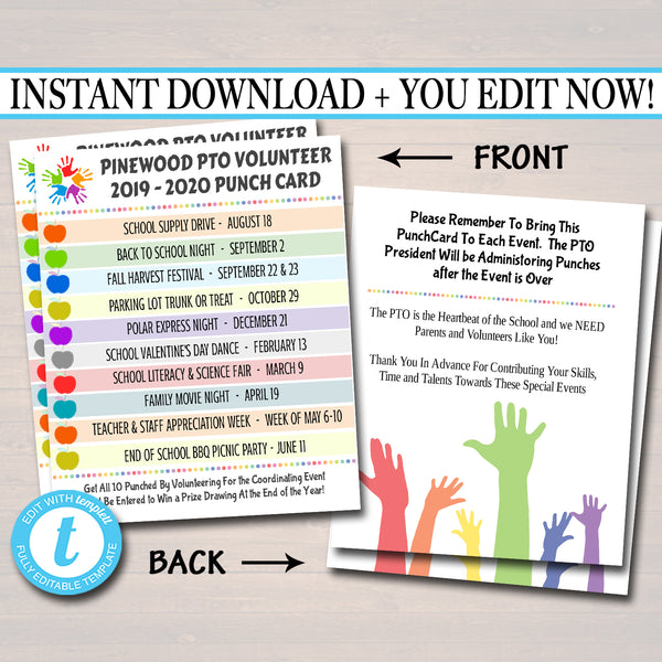 EDITABLE PTO PTA Membership Volunteer Parent Punch Cards, Printable School Year Fundraiser Marketing Incentive Meeting Events Template