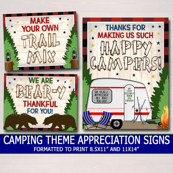 Outdoor Camping Theme Teacher Appreciation Week Decor Signs