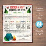 Camping Theme Teacher Appreciation Week Take Home Newsletter Printable Template