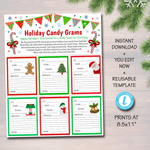 Christmas Candy Gram Flyer, Church School Pto Pta Holiday Fundraiser Template
