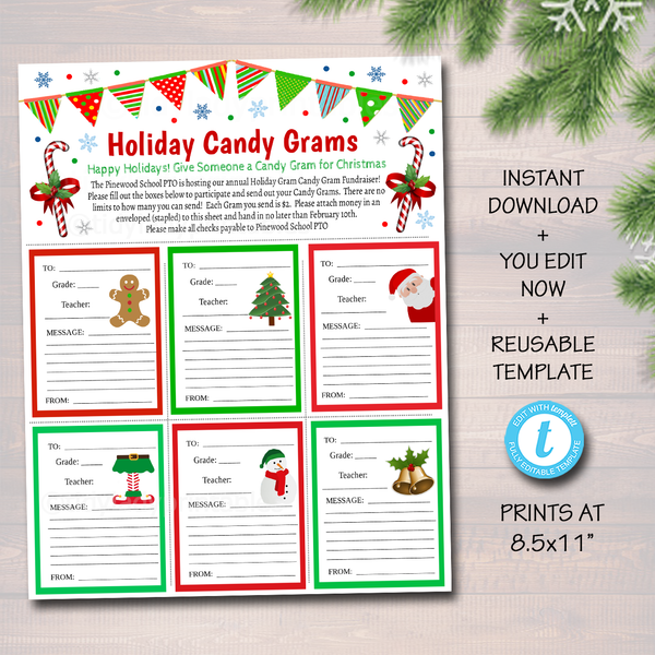 Holiday Candy Gram Flyer - Printable Fundraiser Template