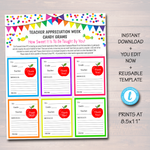 Teacher Appreciation Week Candy Gram Flyer, School Pto Pta Fundraiser Template