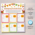 Thanksgiving Candy Gram Flyer - Printable Template