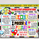 Games Themed Teacher Appreciation Week Itinerary Poster Printable