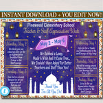Arabian Nights Themed Teacher Appreciation Week Itinerary Poster Printable