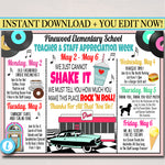 1950's Diner Themed Teacher Appreciation Week Itinerary Poster Printable