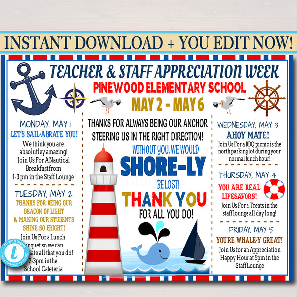 Nautical Beach Themed Teacher Appreciation Week Itinerary Poster Printable