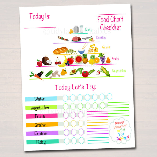 Kids Food Chart Checklist Printable