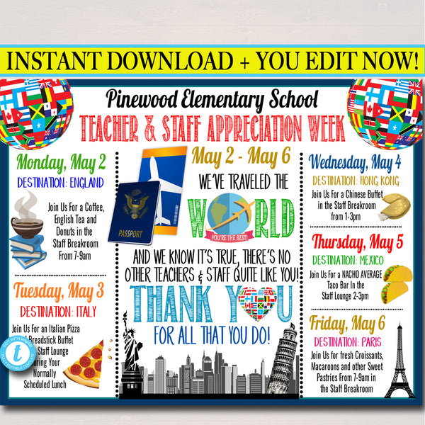 Around The World International Themed Teacher Appreciation Week Itinerary Poster Printable
