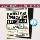 Newspaper Themed Teacher Appreciation Week Luncheon Invitation Printable