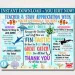 Under the Sea Themed Teacher Appreciation Week Itinerary Poster Printable