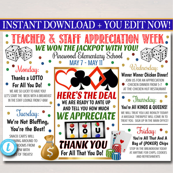 Casino Themed Teacher Appreciation Week Itinerary Poster Printable
