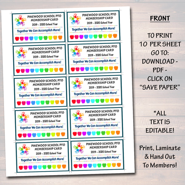 photo regarding Printable Membership Cards named EDITABLE PTO PTA Subscription Playing cards, Printable Higher education Yr