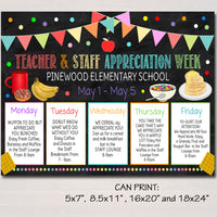 Breakfast Themed Teacher Appreciation Week Itinerary Poster Printable