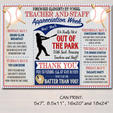 Baseball Themed Teacher Appreciation Week Itinerary Poster Printable