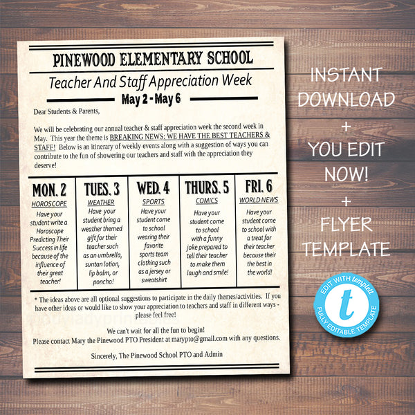 Newspaper Themed Teacher Appreciation Week Newsletter Take Home Flyer Printable