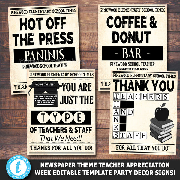 Newspaper Themed Teacher Appreciation Week Printable Party Decor Signs