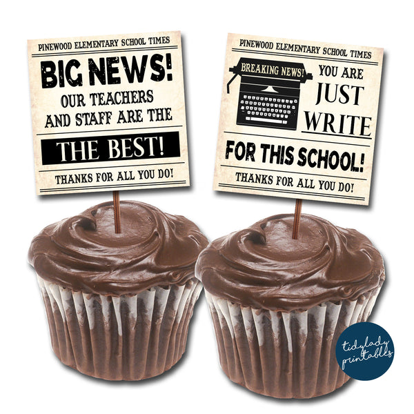Newspaper Theme Teacher Appreciation Printable Cupcake Toppers