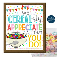 Cereal Bar Sign, Teacher Appreciation Week Printable Breakfast Food Decoration