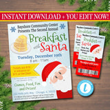 Breakfast with Santa Flyer & tickets Breakfast with Santa Invitation, Kids Christmas Party, Printable Community Holiday Event Flyer