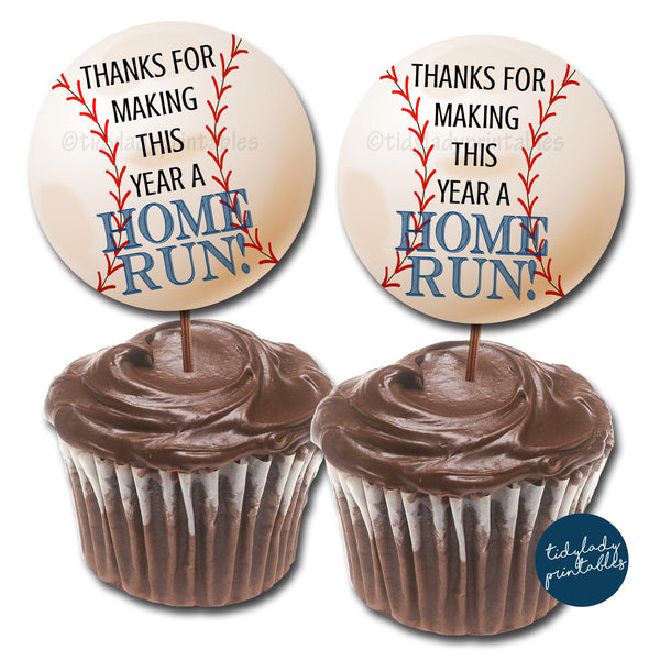 Baseball Theme Teacher Appreciation Cupcake Toppers