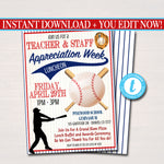 Baseball Theme Teacher Appreciation Party Luncheon Invitation Template