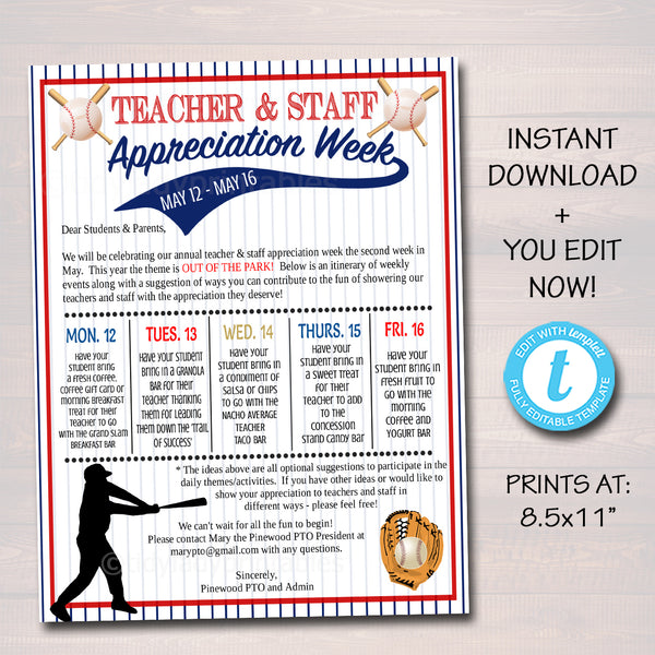 Baseball Theme Teacher Appreciation Week Take Home Newsletter Printable Template