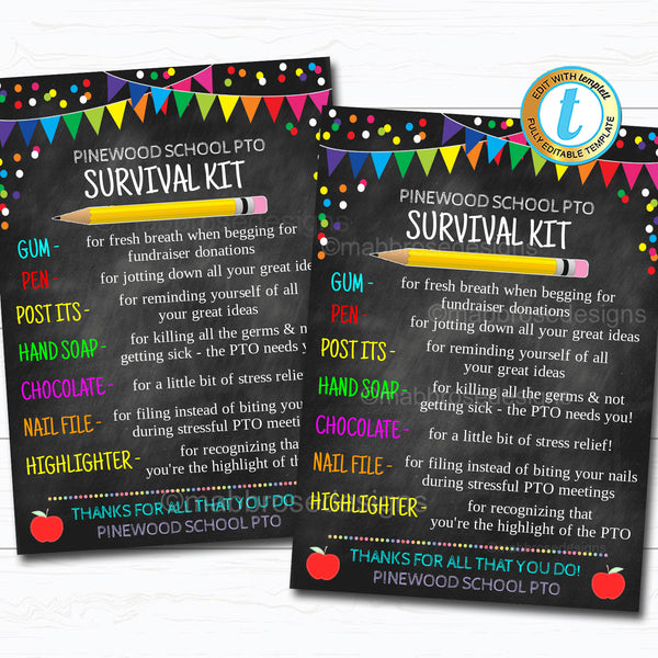 PTO PTA Survival Kit Printable Gift Tags