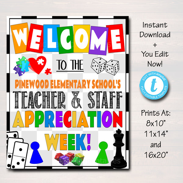 Games Theme Teacher Appreciation Week Printable Welcome Sign
