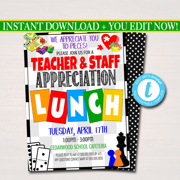 Games Theme Teacher Appreciation Week Printable Lunch Invitation