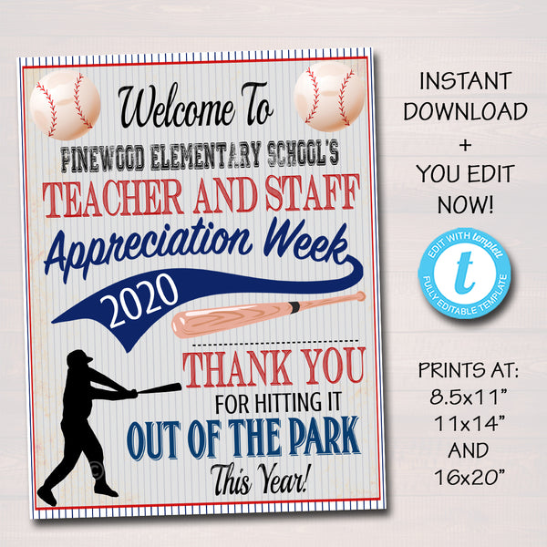 Baseball Theme Teacher Appreciation Week Welcome Sign