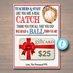 Baseball Theme Teacher Appreciation Gift Card Holder