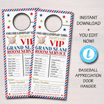 Baseball Theme Teacher Appreciation Week Printable Room Service Door Hangers