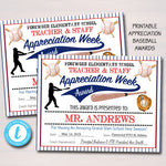 Baseball Theme Teacher Appreciation Printable Award Certificates