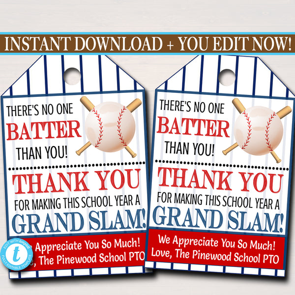 Baseball Theme Teacher Appreciation Printable Gift Tags