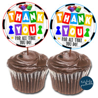 Board Games Theme Appreciation Printable Cupcake Toppers