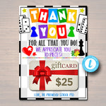 Board Games Theme Appreciation Printable Gift Card Holder