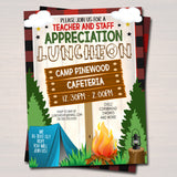 Camping Theme Teacher Appreciation Party Luncheon Invitation Template