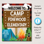Camping Theme Teacher Appreciation Week Welcome Sign