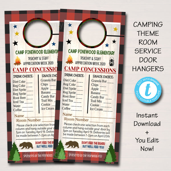 Camping Theme Teacher Appreciation Week Printable Room Service Door Hangers