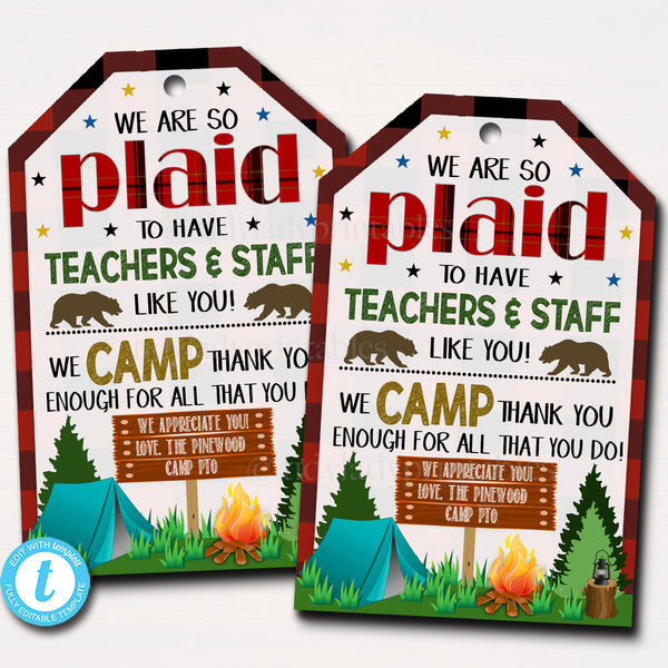 Camping Theme Teacher Appreciation Printable Gift Tags