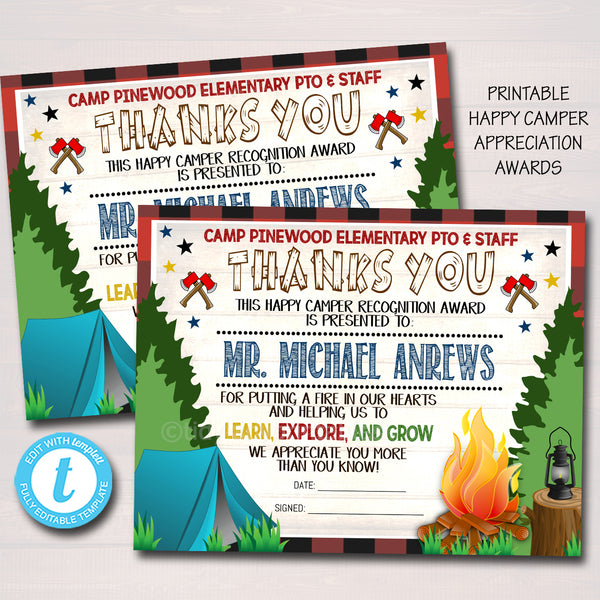 Camping Theme Teacher Appreciation Printable Award Certificates