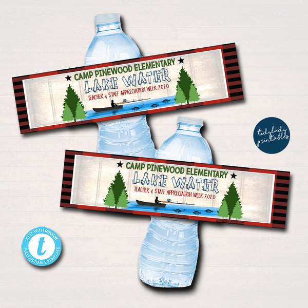 Camping Theme Teacher Appreciation Printable Water Bottle Labels