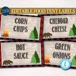 Outdoor Camping Theme Party Printable Food Tent Labels