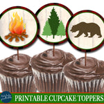 Outdoor Camping Theme Party Printable Cupcake Toppers