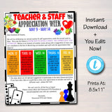 Games Theme Teacher Appreciation Week Printable Party Set
